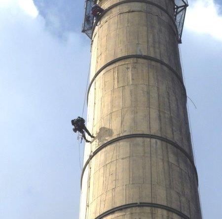 Skyriders assists consulting engineer with smokestack inspection